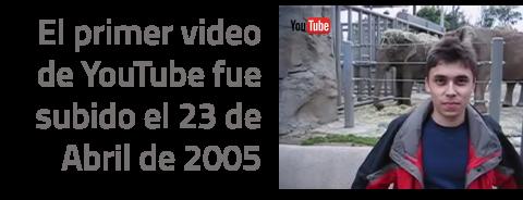 El primer video subido aYouTubees el siguiente, en el que se ve a su co-fundadorJawed Karimen el zoológico de San Diego. Fue subido un 23 de abril de 2005 y lleva más de 10 millones de reproducciones.